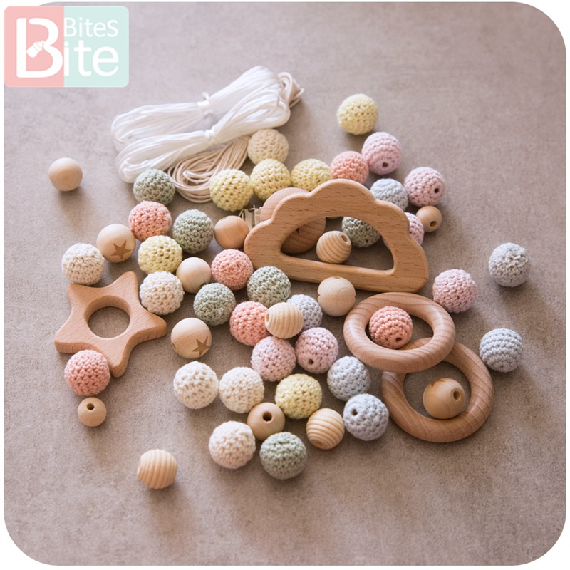1Set Baby Teether DIY Silicone Beads Pacifier Clip Chain Baby Mobile Wool Ball BPA Free Wooden Crochet Beads Teether