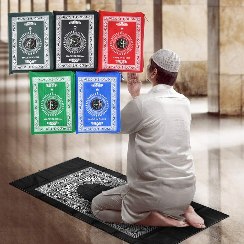 1PCs Portable Muslim Prayer Rug Polyester Braided Mats Simply Print With Compass In Pouch Travel Home Mat Blanket 100*60cm