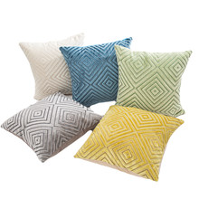 Square Luxury Flocked Velvet Cushion Cover Solid Color Decorative Throw Pillow Covers for Sofa Cafe Party Bedroom Car Seat Chair