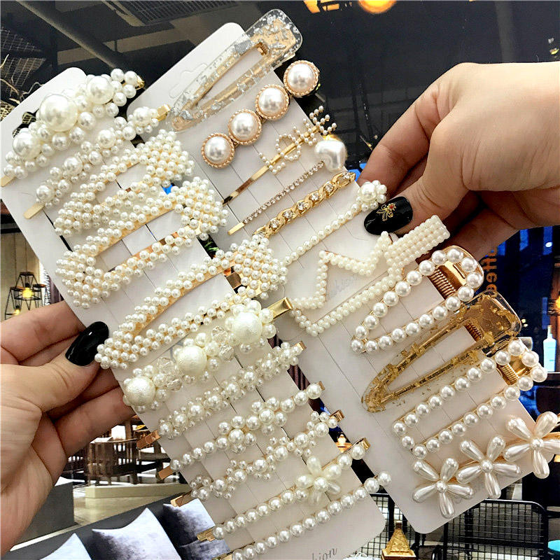 1Set Handmade Pearls Hair Clips Pin for Women Fashion Geometric Flower Barrettes Headwear