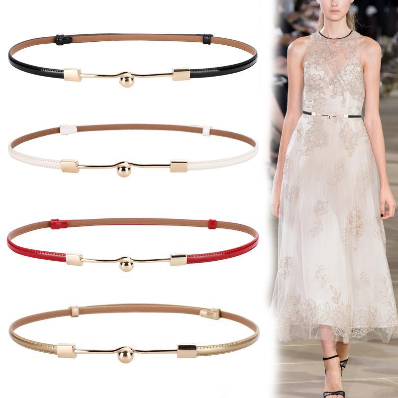 Women Faux Leather Gold Metal Buckle Adjust Belt Thin Waistbands Red Solid Elegant Hot Sale High Quality Adjustable Waist Belt