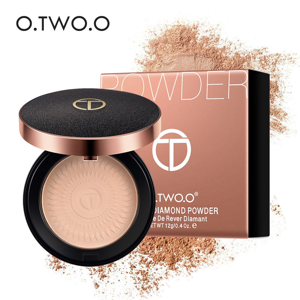 O.TWO.O Natural Face Powder Mineral Foundations Oil-control Brighten Concealer Whitening Make Up Pressed Powder With Puff image