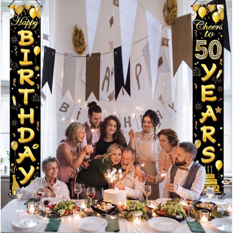 Porta de aniversário cortina 50th aniversário decorações festa aniversário suprimentos adulto 30 40 50 60 anos aniversário festa w01