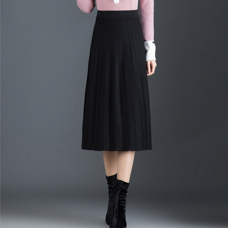 Thick Yarn Skirt Autumn And Winter Women's High-waisted Slimming Mid-length A- Line Skirt Warm Long Skirts Knitted Skirts