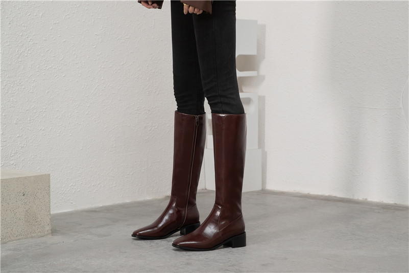 Ladies Womens Low Mid Block Chunky Heel Knee High Calf Riding Boots Shoes Size