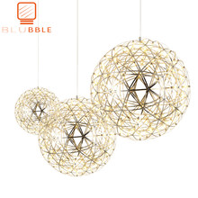 Modern Creative Firework LED Pendant Lights Stainless Steel Large Ball Lighting Fixture Hanging Lamps for Hotel Hall Decoration(China)