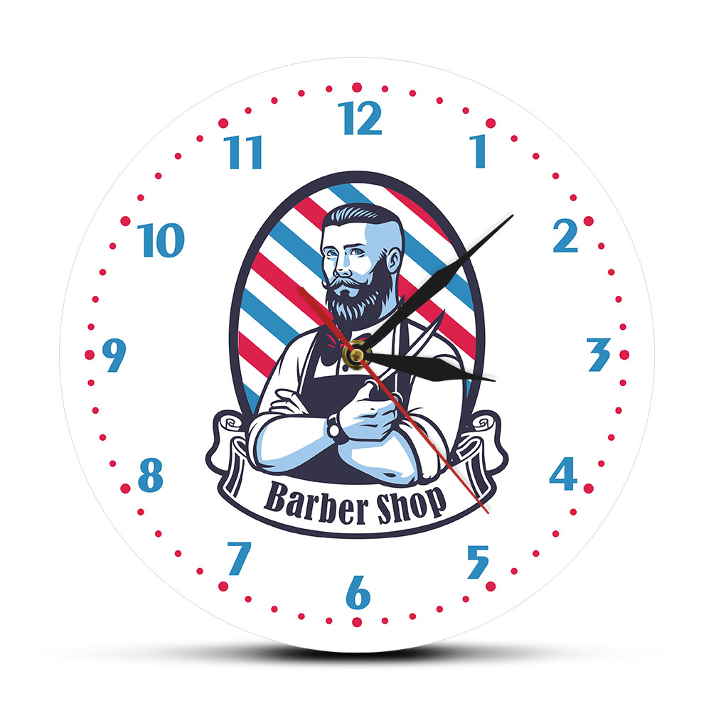 Old Classic Barber Shop Hairdressing Salon Wall Clock Hairstyle Pole Home Bar Wall Decor Barbershop Business Sign Wall Watch