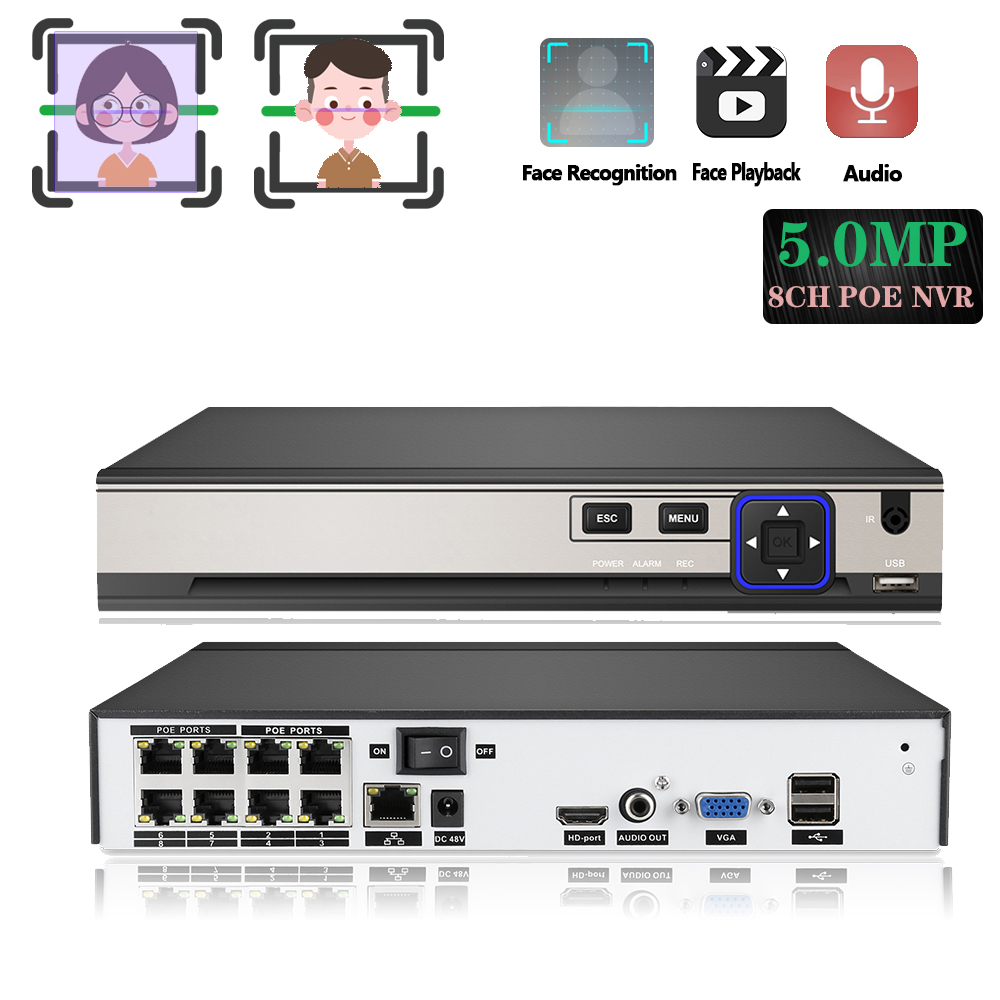 H.265+ 8CH 5MP NVR RJ45 POE 8 Channel Surveillance Video Audio Recorder Security Camera System CCTV Onvif Face Detection/Record