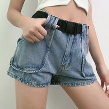 Korean High Waist Wide Leg Jeans Women 2020 Summer New Women's Slimming Large Pocket Denim Shorts with Belt Bottom Jeans high waist jeans with belt