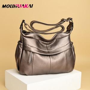 Image 1 - MOLIHUAKAI Soft Leather Women Messenger Bag Casual Womens Shoulder Crossbody bag Female Handbag Black Bolsa Feminina Girl Bags