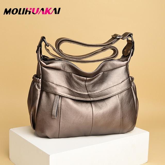MOLIHUAKAI Soft Leather Women Messenger Bag Casual Womens Shoulder Crossbody bag Female Handbag Black Bolsa Feminina Girl Bags