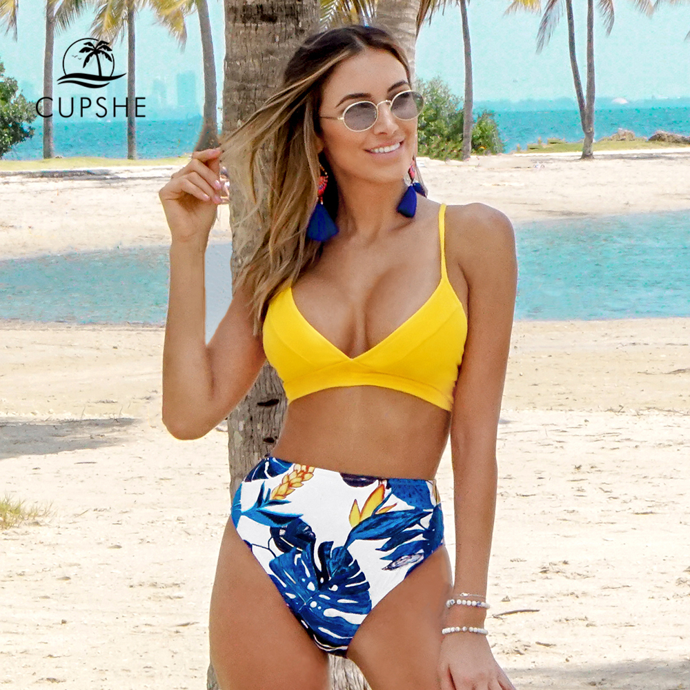 CUPSHE Yellow And Blue Leaves Print Bikini Sets Sexy Lace Up Swimsuit Two Pieces Swimwear Women 2020 Beach Bathing Suits