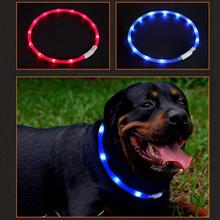 LED obroża dla zwierząt USB akumulator bezpieczeństwo w nocy ostrzeżenie podświetlany pies silikon regulowany kołnierz wyciąć aby zmienić rozmiar tanie tanio Obroże Pet LED Collar CN (pochodzenie) Silicone ABS Wszystkie pory roku Stałe LIGHTS pet collar dog adjustable collar