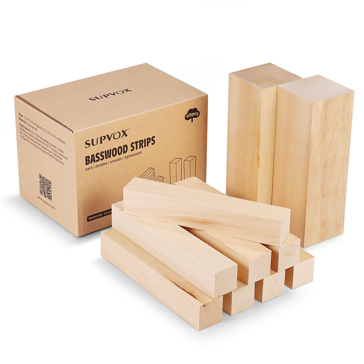 SUPVOX 10PCS Basswood Strips Hard Smooth Model Toys Building Carving Handicraft DIY Accessories Educational Playthings