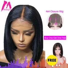 4x4 lace closure wig preplucked with baby hair straight short bob Human Hair Wigs 130 Density Buy one get one free(China)