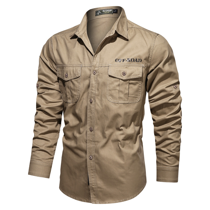 Mens Long Sleeve Plain Casual Shirt Military Style Boutton Up Basic Regular Fit Shirts Tops