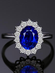 Jewelrypalace Sapphire-Ring Halo 925-Sterling-Silver rings Princess Crown Engagement