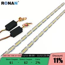 Ronan 60 Dagrijverlichting Wit Switchback Geel Licht Drl Dubbele Vloeiende Type Led Wit Amber Lamp Auto Koplamp