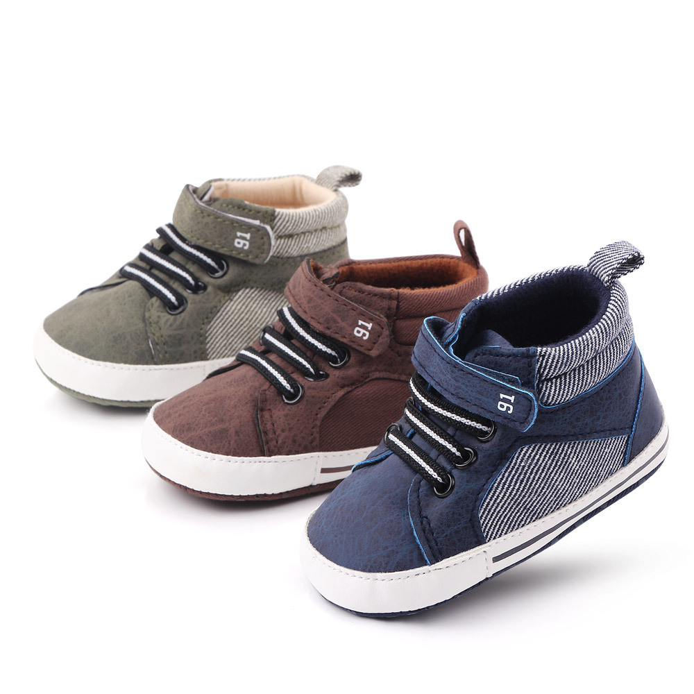 New Fashion Baby Boys Girls Sneakers Leather Sports Crib Soft First Walker Shoes First Walkers For 0-18month Toddler Shoes