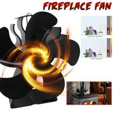 Upgraded Fireplace Fan 5 Blades Heat Powered Stove Fan Aluminium Silent Eco-Friendly For Wood Log Burner Silent Warmth Winter