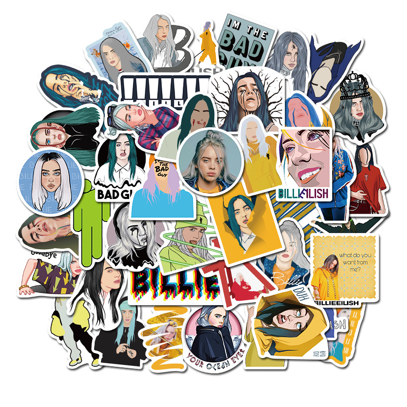 10/30/50pcs Waterproof Billie Eilish Cartoon Girl Stickers Skateboard Guitar Suitcase Freezer Graffiti Sticker Kids Classic Toy