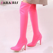 все цены на SARAIRIS 32-45 Sweet Candy Colors Over The Knee Boots Ladies Sexy Stretch Thigh High Boots Women 2019 High Heels Shoes Woman