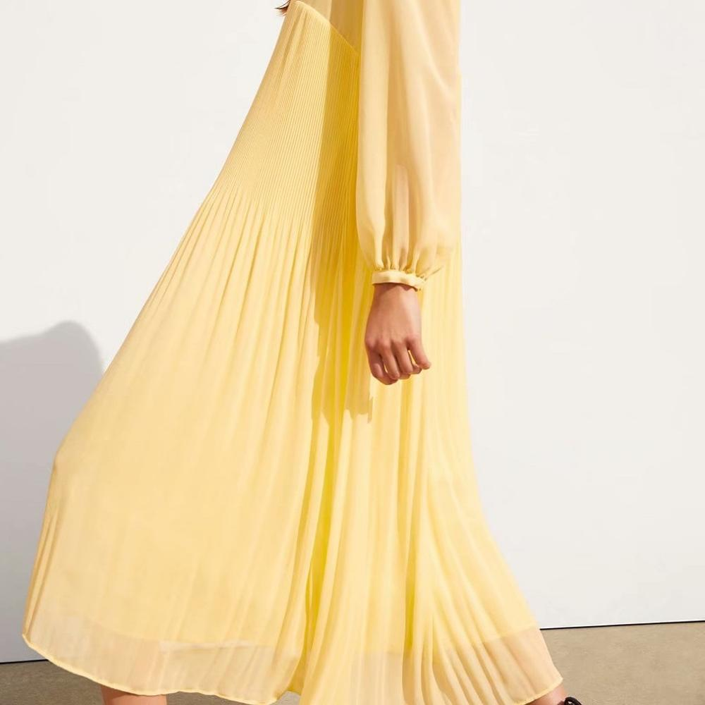 Yellow Maxi Dress Women Chiffon Pleated Long Pull Sleeve Casual Loose Beach Style