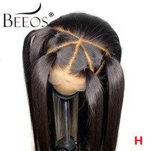 Beeos 360 peruki typu Lace Front wstępnie oskubane 130% dziecko włosy brazylijski Remy proste włosy ludzkie koronki przodu peruki z długimi włosami kobiet Bleach węzeł
