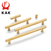 KAK Brass Cabinet Handles Luxury Gold Furniture Handles Copper Drawer Knobs Heavy Duty Wardrobe Door Pulls Cabinet Hardware