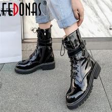 FEDONAS invierno hebilla cremallera Mujer nueva motocicleta botas Cruz atado mujeres tobillo botas noche Club zapatos mujer plataforma tacones altos