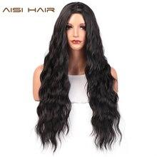 AISI saç uzun dalgalı siyah peruk kahverengi ve kırmızı dalga sentetik peruk kadınlar için doğal orta kısmı isıya dayanıklı saç