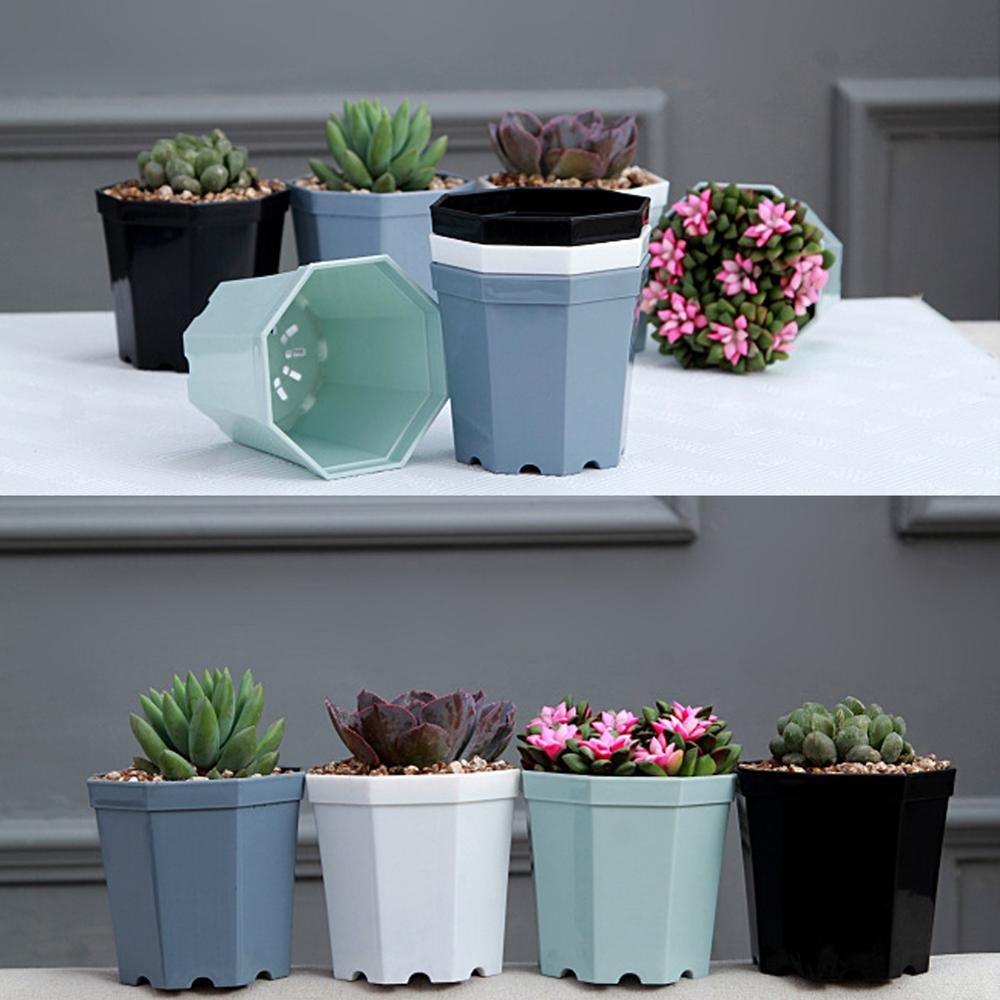 4 Pieces Modern Plastic Octagon Flower Pot Home Garden Office Desk Succulent Plant Pot Matt Glossy Garden Decoration Pots