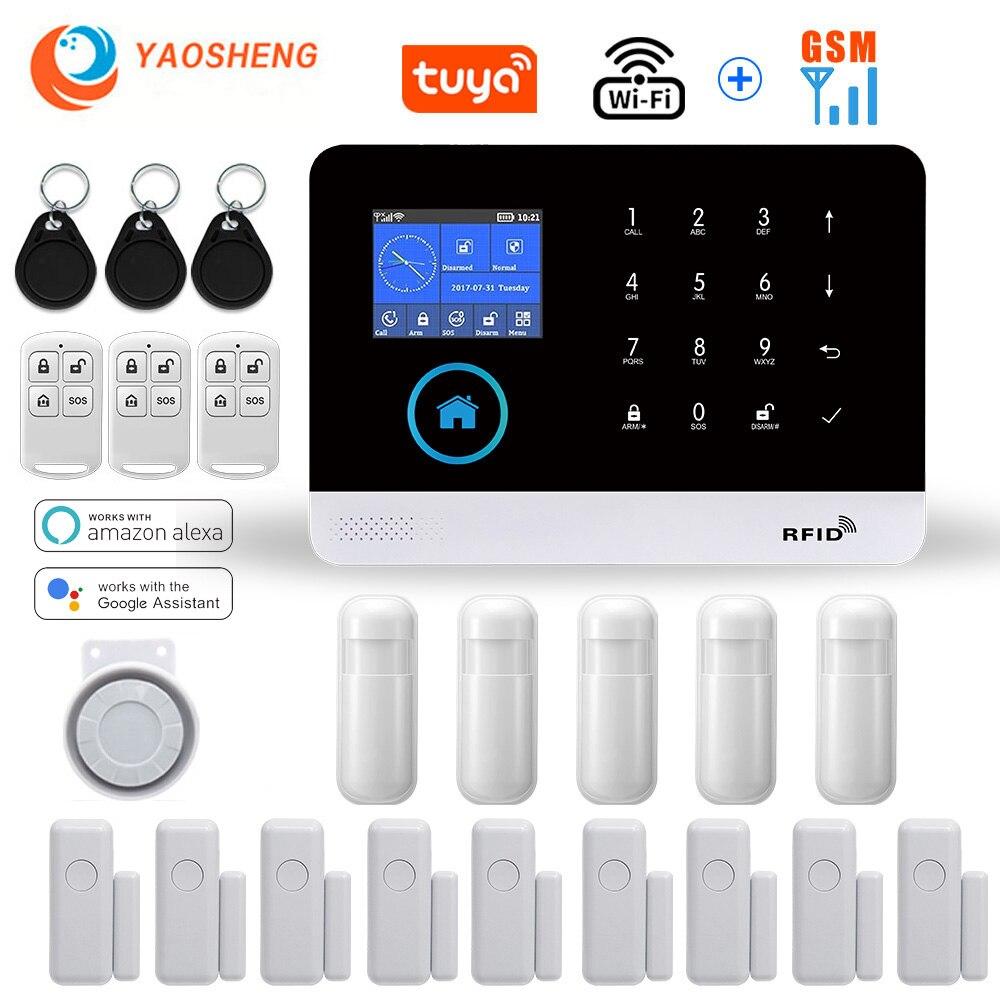 Беспроводная домашняя система охранной сигнализации Wi-Fi GSM для приложения Tuya Smart Life с датчиком движения, совместима с Alexa и Google