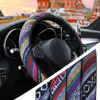 Universal Linen National style Car Steering Wheel Cover Comfortable Anti-slip For 36-39cm Car Styling Steering-wheel image