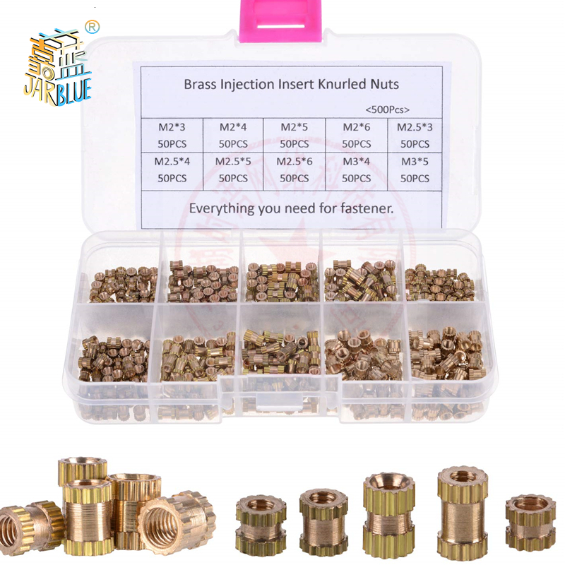 Injection-Nut Knurling-Kit Copper-Insert 200/500pcs OD Electrical for M2.5--L-3.5