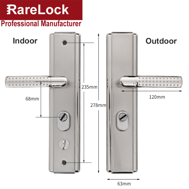 Купить с кэшбэком Door Handle Set for Bedroom Living Room Bathrrom without Cylinder Home Security Hardware Rarelock MS532 h