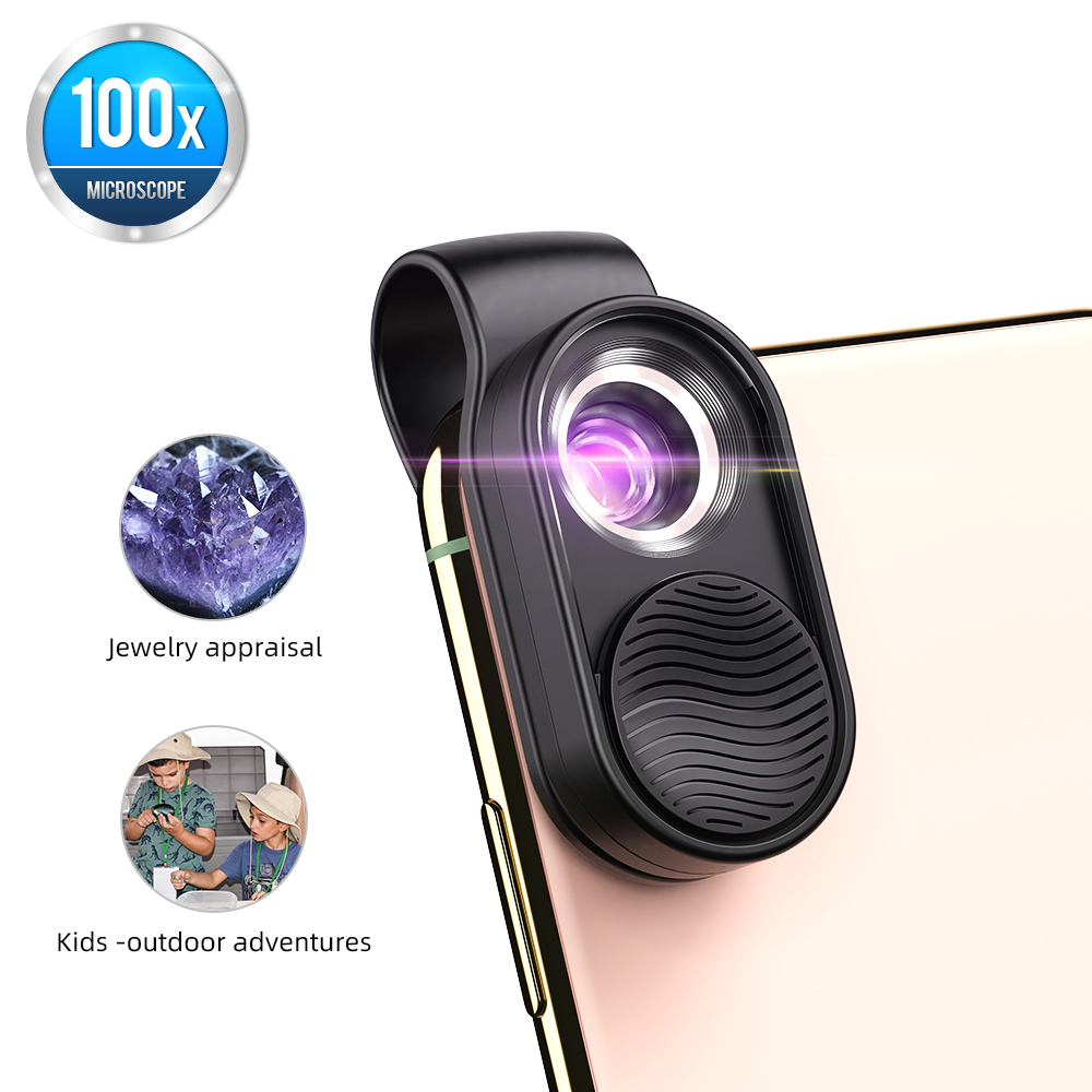 APEXEL 100X Microscope Lens Mobile Phone Macro Lens High Magnification LED Mini Pocket Portable Lens For iPhone Most Smartphones