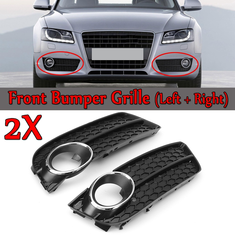 A Pair Front Bumper Fog Light Lamp Racing Honeycomb Hex Mesh Grille <font><b>Grill</b></font> Cover for <font><b>Audi</b></font> <font><b>A5</b></font> for Coupe/Sportback 2008-11 Cabriole image