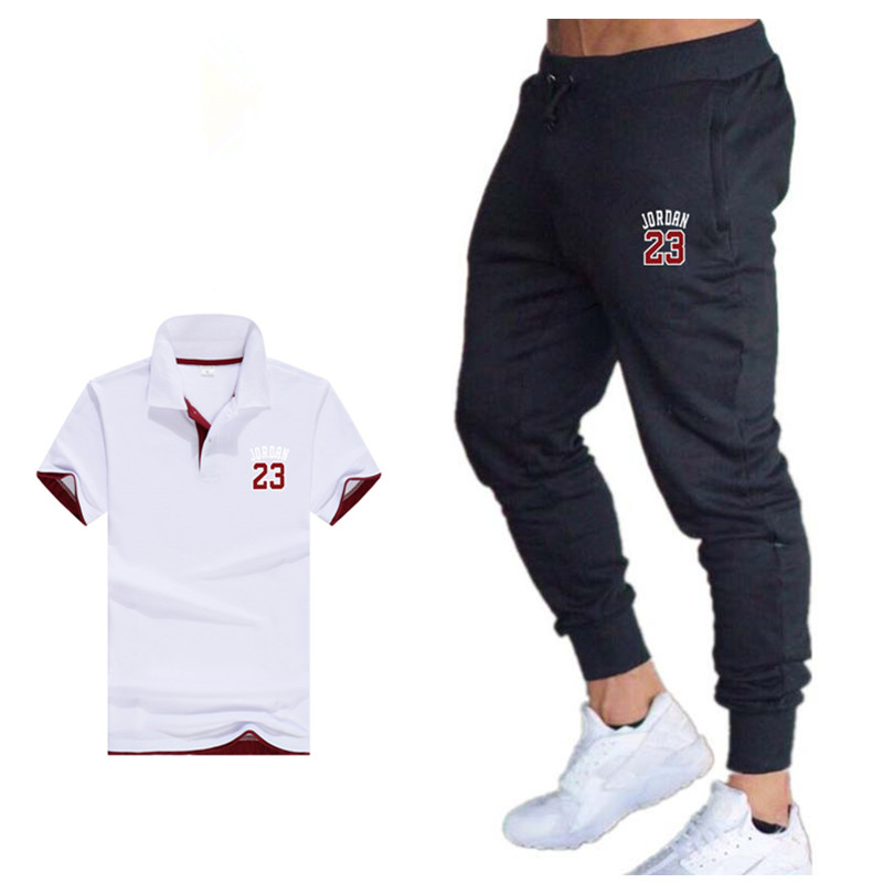 2019 Two Piece Set Mens Outfit Summer Sport Suit Polo Shirt Track Pants Tracksuit Men Casual  Jordan 23 T-shirt Jogging Male Set