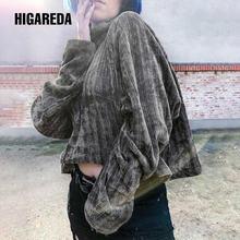 Однотонный серый вязаный свитер с высоким воротником Женский