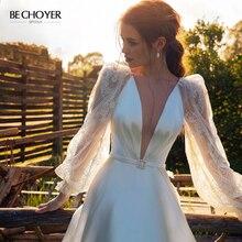 Vestido de Noiva Vintage V ausschnitt Satin A linie Hochzeit Kleid 2020 Boho Puff Sleeve Spitze Zug Angepasst BECHOYER PA17 Braut Kleid