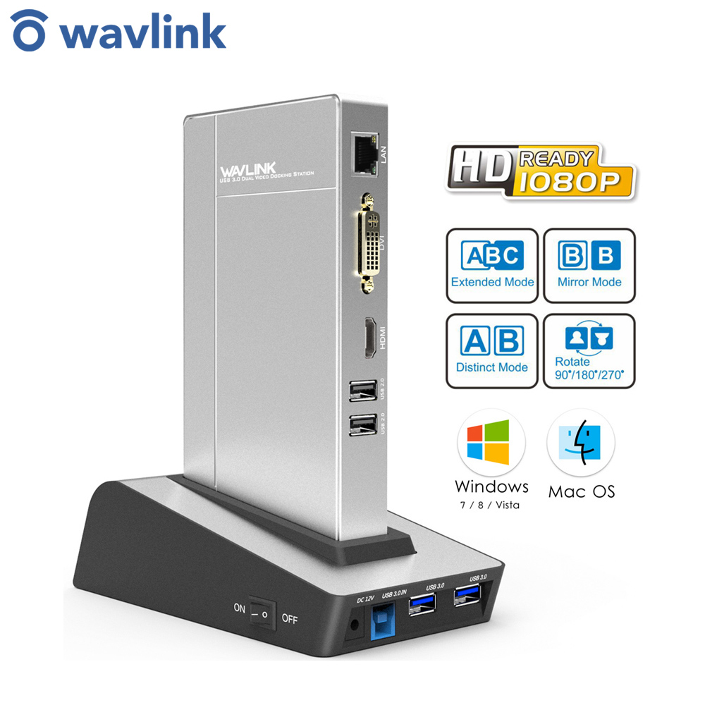 Wavlink usb 3.0 universal docking station duplo vídeo hdd & ssd gabinete base suporte dvi/hdmi/vga para ethernet gráficos externos
