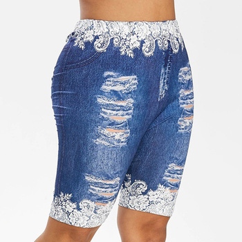 Fake Denim Women Shorts Summer Floral Printed Ladies Short Pencil Trousers Fashion High Waist Legging Shorts For Ladies D30 цена 2017