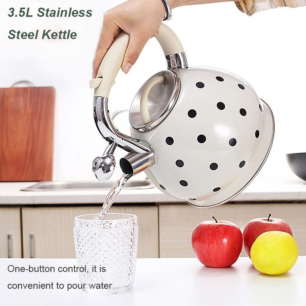 3.5L Kettle Teapot Stainless Steel Whistle Kettle Gas Stove Cooker Metal Whistling Kettle Pot Bouilloire Induction Cooker