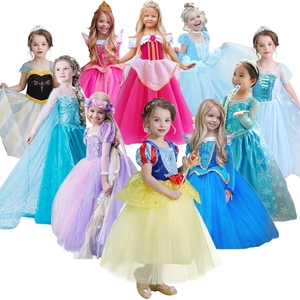 Fairy Princess Fluffy Girls Dress Snow White Cosplay Princess Elsa 2 Dresses for Kid Halloween Role-play Party Costume 4 6 8 Yrs(China)