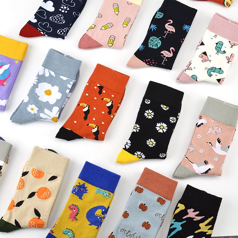 Women Socks Harajuku Funny Cartoon Fruits Sock Unicorn For Flamingo Cute Animal Pattern Happy Funny Skateboard Socks