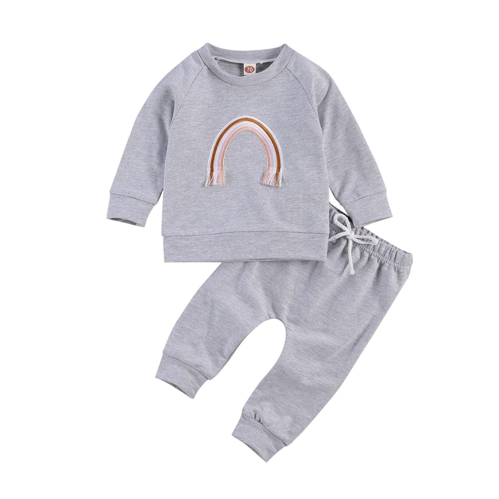 2 adet yenidoğan sonbahar kıyafetleri, bebek uzun kollu yuvarlak boyun nakış gökkuşağı desen Romper + düz renk pantolon