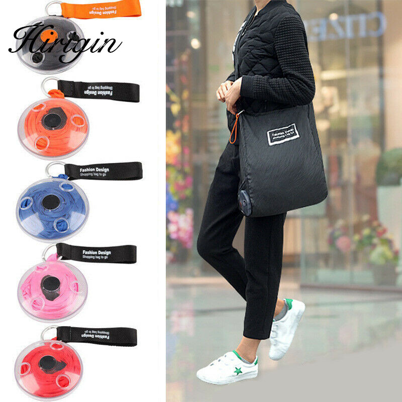Portable Tote In Pouch Reusable Folding Eco Shopper Shopping Shoudler Bags Organizer With Carabiner Shopping Bag Customizable