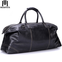 MISFITS genuine leather men large travel bags england style tote travel duffle business handbag overnight luggage shoulder bags