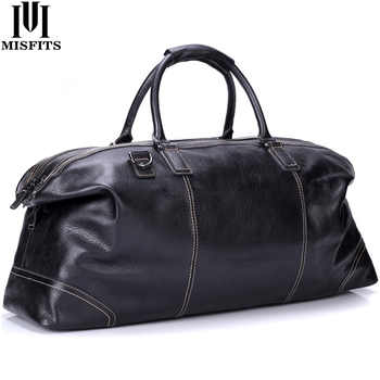 MISFITS genuine leather men large travel bags england style tote travel duffle business handbag overnight luggage shoulder bags - DISCOUNT ITEM  52% OFF All Category